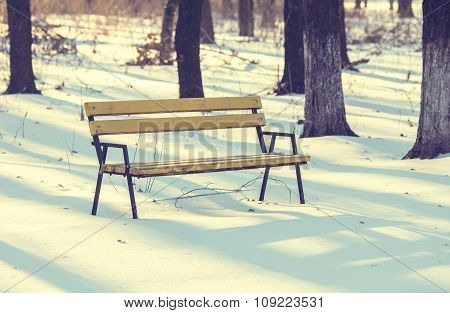 Benches in the winter city park which has been filled