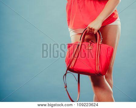Closeup Of Fashion Woman With Red Handbag.