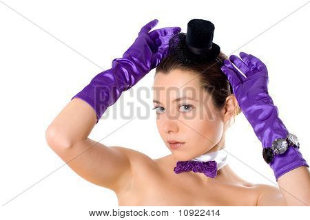 Woman In Corset, Gloves And Little Hat