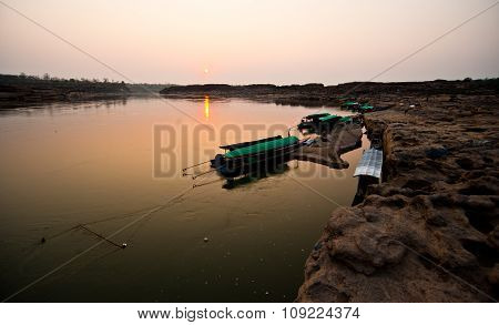 Longtail Boat, Berth At Sand Sam Pan Bok Grand Canyon In Maekhong River, Northeast Of Thailand