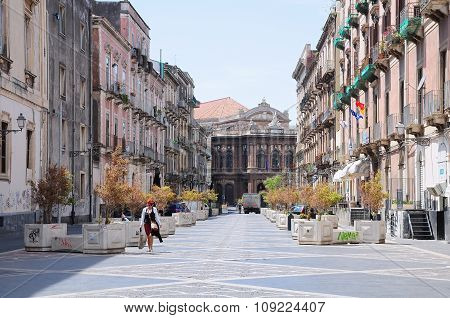 City Street In Catania, Sicily.
