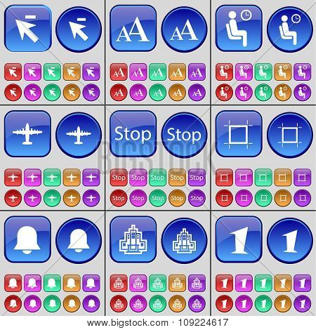 Cursor, Font, Silhouette, Airplane, Stop, Frame, Notification, Building, One. A Large Set Of Multi-