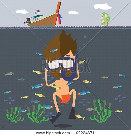 the tourist travel to Thailand sea