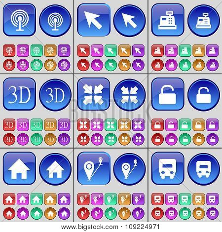Wi-fi, Cursor, 3D, Deploying Screen, Lock, House, Checkpoint, Truck. A Large Set Of Multi-colored