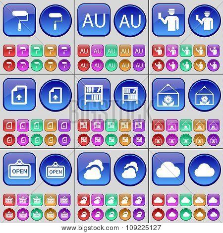 Roller, Au, Silhouette, File, Bookshelf, Flower, Open, Cloud. A Large Set Of Multi-colored