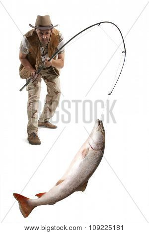 Fisherman with big fish - salmon isolated on white