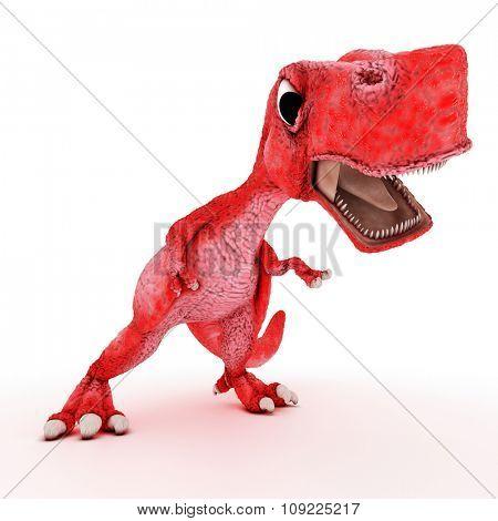 3D Render of Friendly Cartoon Dinosaur