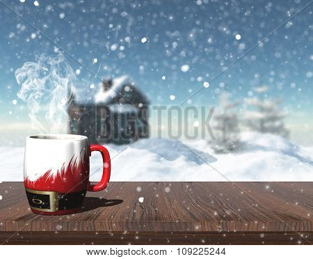 3D render of a Christmas mug on a table with defocussed image of snowy house with trees and house