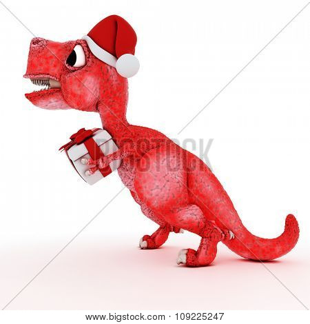 3D Render of Friendly Cartoon Dinosaur with christmas gift box