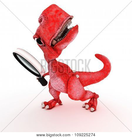 3DS Render of Friendly Cartoon Dinosaur with magnifying glass