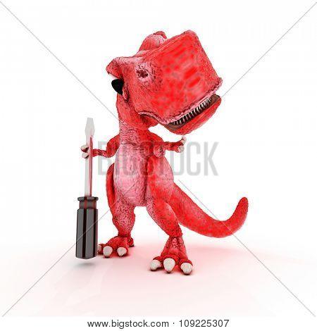 3DS Render of Friendly Cartoon Dinosaur with screwdriver