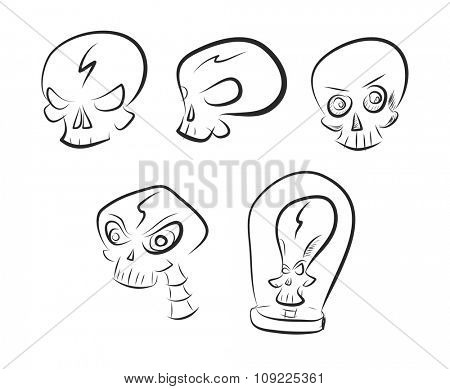 Vector set of simple one color skull sketches