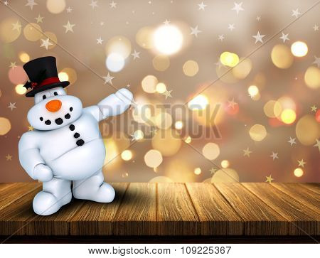 3D render of a Christmas snowman on wooden table against a bokeh lights background