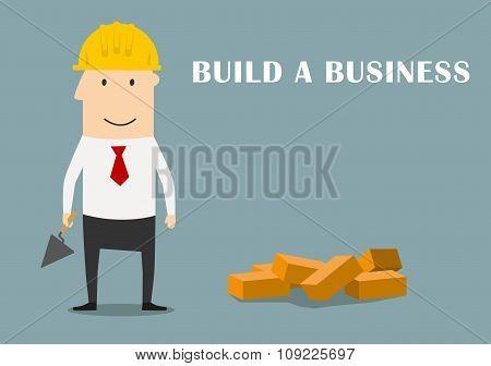 Businessman building a new business