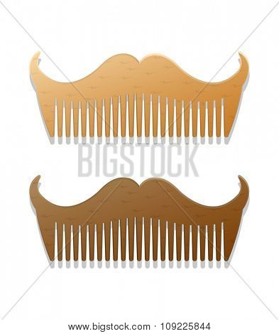 Vector hipster style illustration of combs in shape of mustaches, isolated on white background