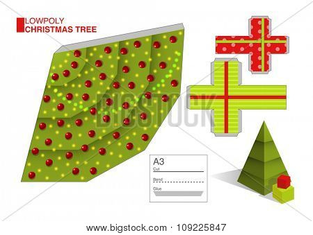 Vector DIY cut and fold pattern template for a Christmas tree and boxes, eps10