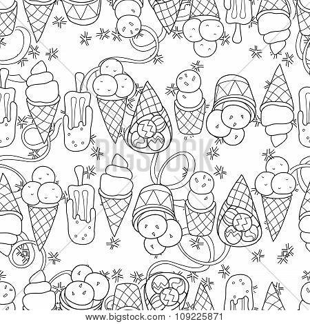 Ice Cream  Seamless Pattern.Hand Drawn  Vector.