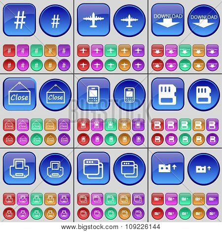 Hashtag, Airplane, Download, Close, Mobile Phone, Sim Card, Printer, Window, Cassette. A Large Set