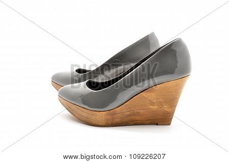 shoe patent leather wedges