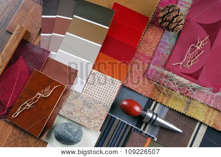 close up of the interior color design selection concept
