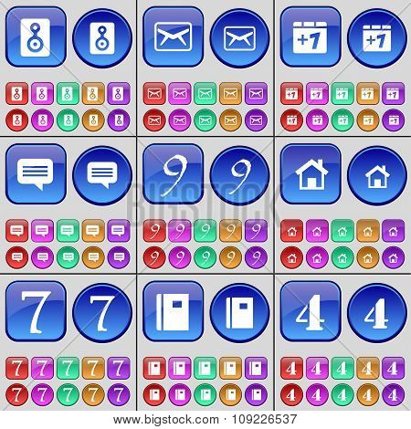 Speaker, Message, Plus One, Chat Bubble, Nine, House, Seven, Notebook, Four. A Large Set Of Multi-