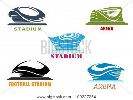 Modern sport stadiums and arenas abstract icons