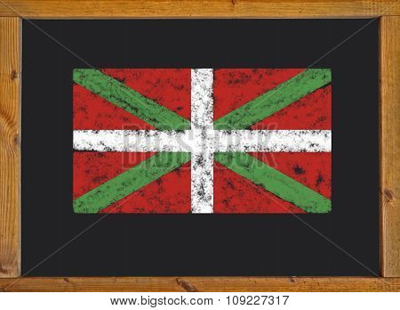 The flag of the autonomous community of the Basque Country on a blackboard