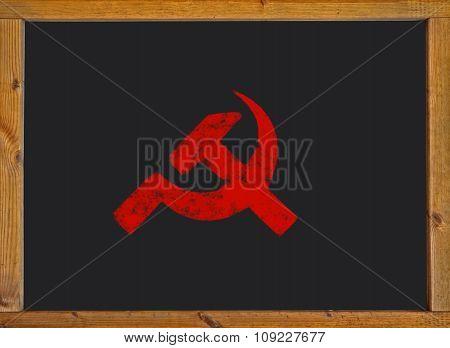 Communist symbol on a blackboard