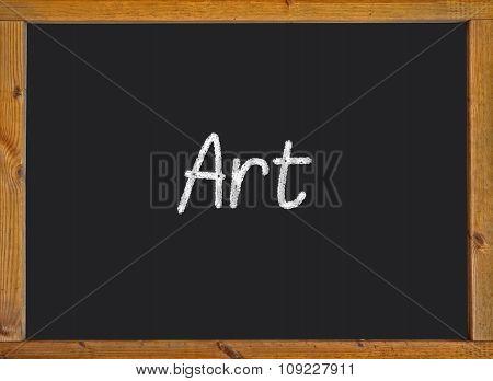 Art written on a blackboard