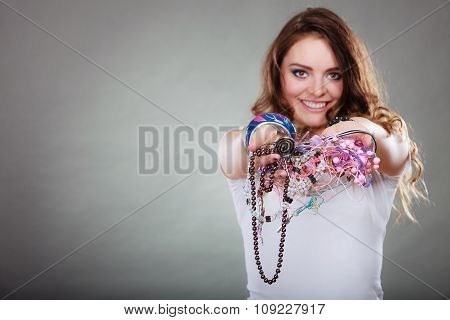 Happy Woman With Jewelry Necklaces Ring Bracelets