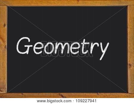 Geometry written on a blackboard