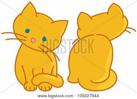 Two Yellow Cute Kittens