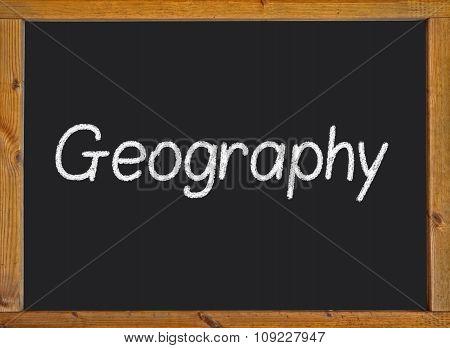 Geography written on a blackboard