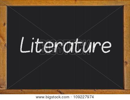 Literature written on a blackboard