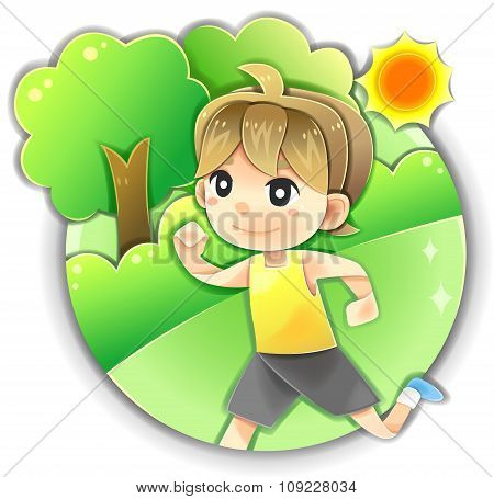 Highly Detail Illustration Cartoon Male Character Is Running Or Jogging For Morning Exercise In The