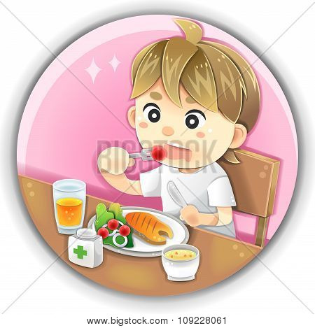 Highly Detail Illustration Cartoon Male Character Is Eating Healthy Nutrition Food Such As Salmon Fi