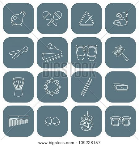 Latin Percussion Instruments Icon Set
