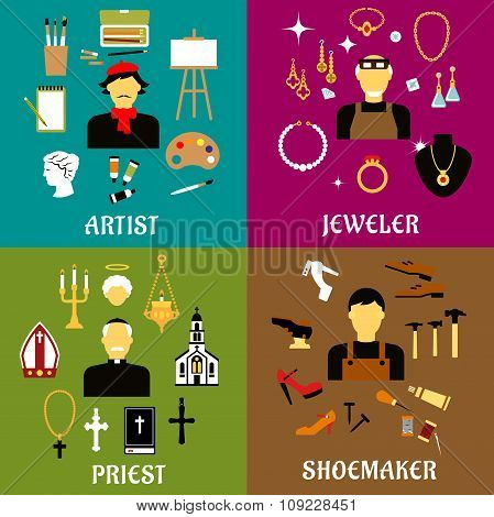 Jeweler, shoemaker, artist and priest professions