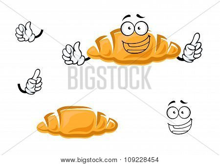 Cartoon isolated french croissant character
