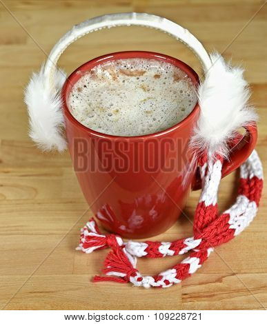 hot chocolate drink with earmuffs
