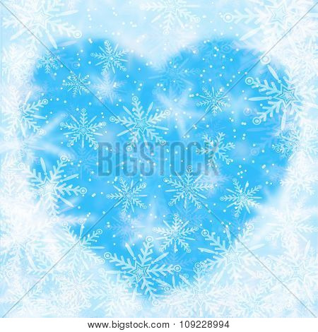 Christmas Background With Snowflakes And The Shape Of Heart