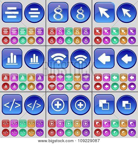 List, Eight, Cursor, Diagram, Wi-fi, Arrow Left, Code, Plus, Copy. A Large Set Of Multi-colored