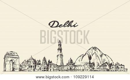 Delhi skyline vector illustration hand drawn