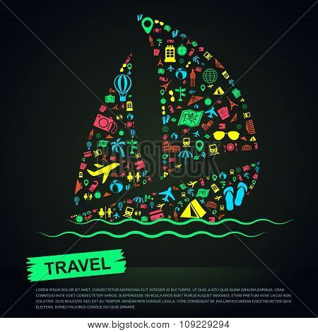 Travel Transportation Tourism And Landmark Vacation Infographic Banner Template Layout Background Ba