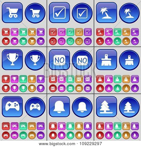 Shopping Cart, Tick, Palm, Cup, No, Brush, Gamepad, Notification, Tree. A Large Set Of Multi-