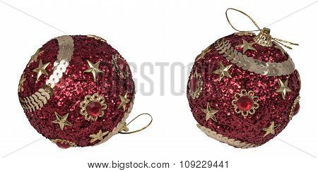 Christmas Red Balls With Sequins