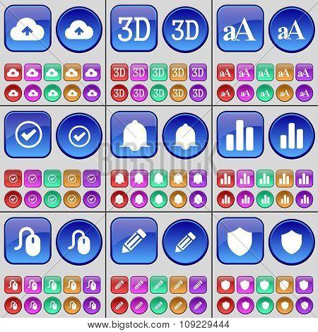 Cloud, 3D, Font, Tick, Notification, Diagram, Mouse, Pencil, Badge. A Large Set Of Multi-colored