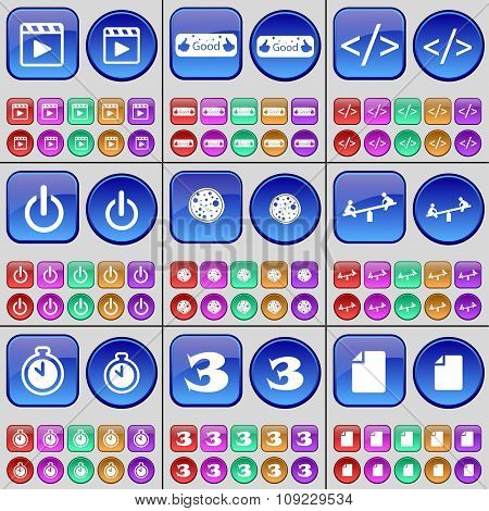 Media Player, Like, Code, Power, Pizza, Swing, Stopwatch, Three, File. A Large Set Of Multi-