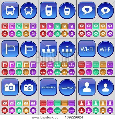 Bus, Mobile Phone, Chat Bubble, Signpost, Chandelier, Wi-fi, Camera, Halloween, Avatar. A Large