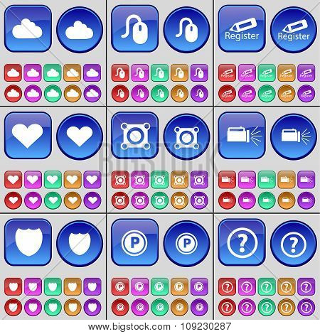 Cloud, Mouse, Register, Heart, Speaker, Flashlight, Badge, Parking, Question Mark. A Large Set Of